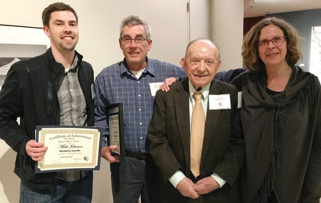 "George Gruner, one of the famed ""Fresno Four,"" is shown with members of the Mariposa Gazette staff last week following an awards ceremony in Fresno. From left are Matt Johnson, assistant editor; Greg Little, editor; Gruner; and Nicole W. Little, publisher. Submitted photo"