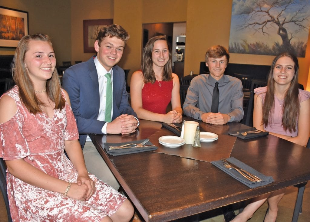 There are five valedictorians this year at Mariposa County High School. They were honored last week for their hard work. From left, Quinn Whatley, Cameron Yancey, Sami Norman, Blake Atkins and Dawn Canapary are shown at this year's MCHS Valedictorian Dinner. Photo by Matt Johnson