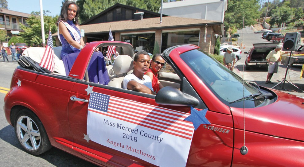 Miss Merced County Angela Matthews is shown during the parade. Mariposa County girls are eligible to compete for the title in Merced County.