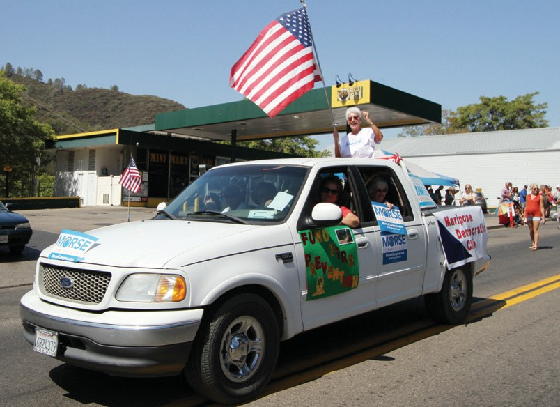 """Both major political parties were represented during the parade on Saturday morning. At """"left"""" is the Mariposa Democrat Club and on the """"right"""" is the Mariposa County Republican Party."""