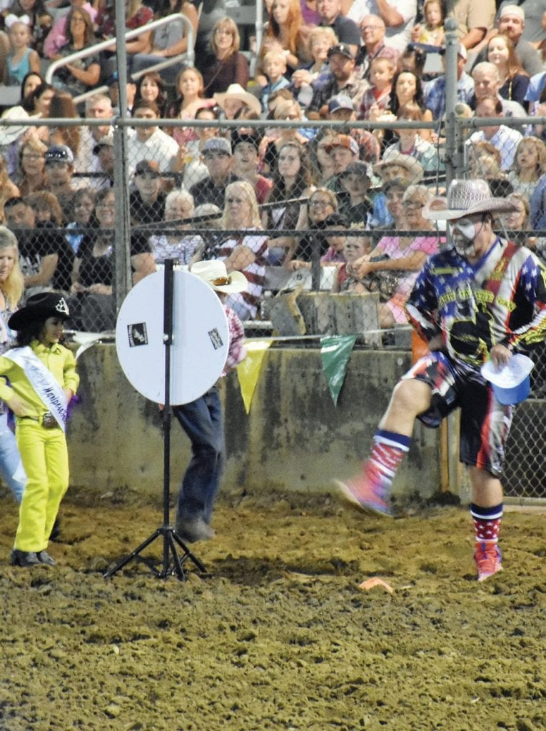 DJ Cowboy Jeff Mann is shown entertaining the crowd during Sunday evening's rodeo at the fair. Photo by Matt Johnson
