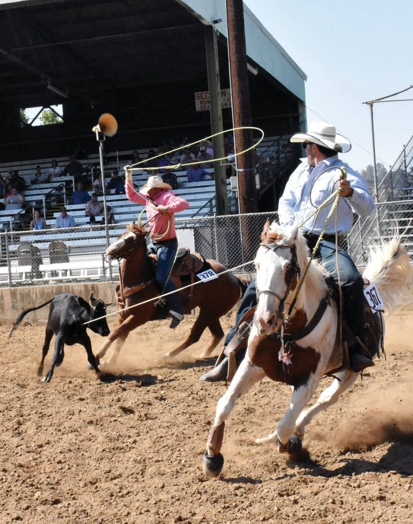 Kelsey Mankins and Coleman Wight are shown during the ultimate cowboy competition at the Gold Bowl. Photo by Shantel Wight