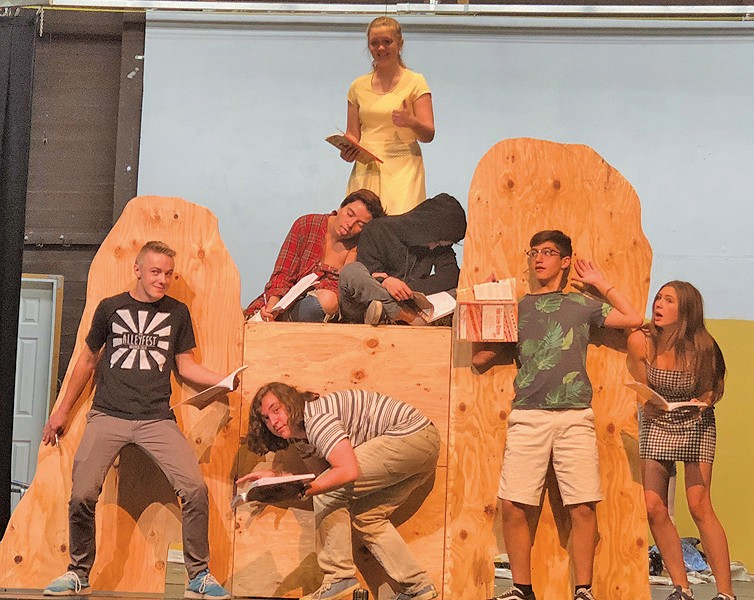 Students in the play are shown on set. From left, Owen Bissmeyer, Owen Crespi, Diego Naranjo, and Jazzy Hawley are shown in the front; on top of the rock are Elle Yancey, Kae Kimbro and Flint McGrath. Submitted photo