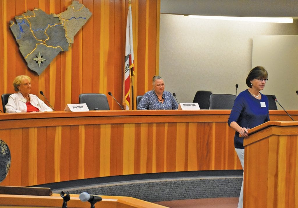 District 3 candidates for the Mariposa County Unified School District board of trustees spoke at a forum last week in Mariposa. The forum was hosted by the local branch of the AAUW. Judy Eppler (left) and Christy Wall (middle) look on as the AAUW's Dawn Johnson (right) introduced the candidates to the audience. Bonus coverage of that forum can be found on the Gazette website. Photo by Matt Johnson