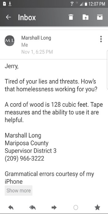 Shown is the email sent by Supervisor Marshall Long which has caused a stir on social media as well as a riff between Long and Supervisor Miles Menetrey.