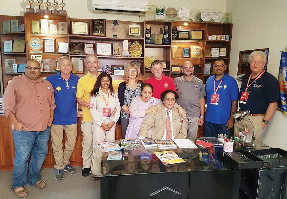 Shown are Rotarians in Pakistan who were welcomed with open arms by local officials. Shown, back row from left, are Omar Kahmish (Rotary Club of Stockton), Bill Lowe ( Mariposa-Yosemite Rotary Club), Richard McInturff (Mariposa-Yosemite Rotary Club), Ophelia McInturff (Mariposa Yosemite Rotary Club), Jenny Currie (Modesto Sunrise Club), Chris Currie (Modesto Sunrise Club), Jay Hislop (North Stockton Rotary), War Rizvi, team leader, (Rotary Club of Stockton) Bob Melrose (Stockton Sunrise Club); seated, Lahore, Pakistan Rotary Past District Governor Mir Arif Ali, and his wife Mahru Arif. Submitted photo