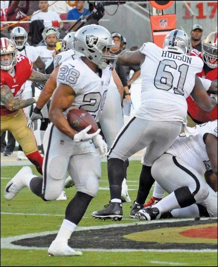 An uncertain future awaits running back Doug Martin (28) and the Raiders heading into 2019. Photo by John Mabon