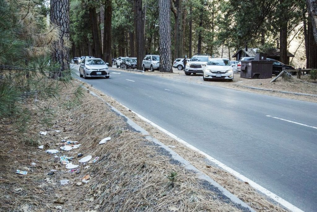 This picture shows trash along the road at Yosemite National Park. It was taken on Dec. 31. Mariposa County supervisors voted Tuesday to assist with garbage pickup in the park. Photo by Dakota Snider