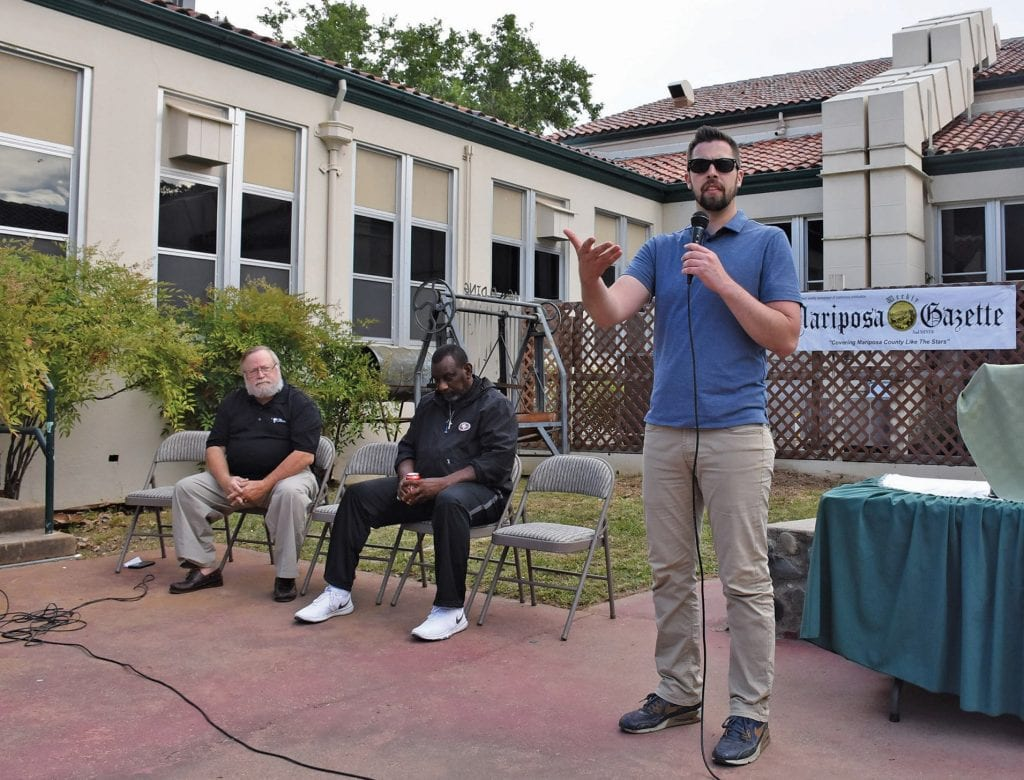Gazette assistant editor Matt Johnson (right) addressed the audience at MCHS. The event was held in Croft Court. Johnson made the selections for the Sports Stars event based on input from coaches, athletic directors and school administrators.