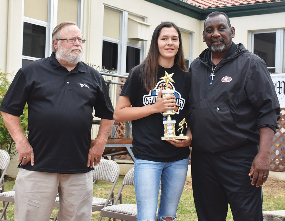 Milea Appling (middle), was named Top Female Basketball Athlete. She is shown with Eric Cranston and Tim Collier.