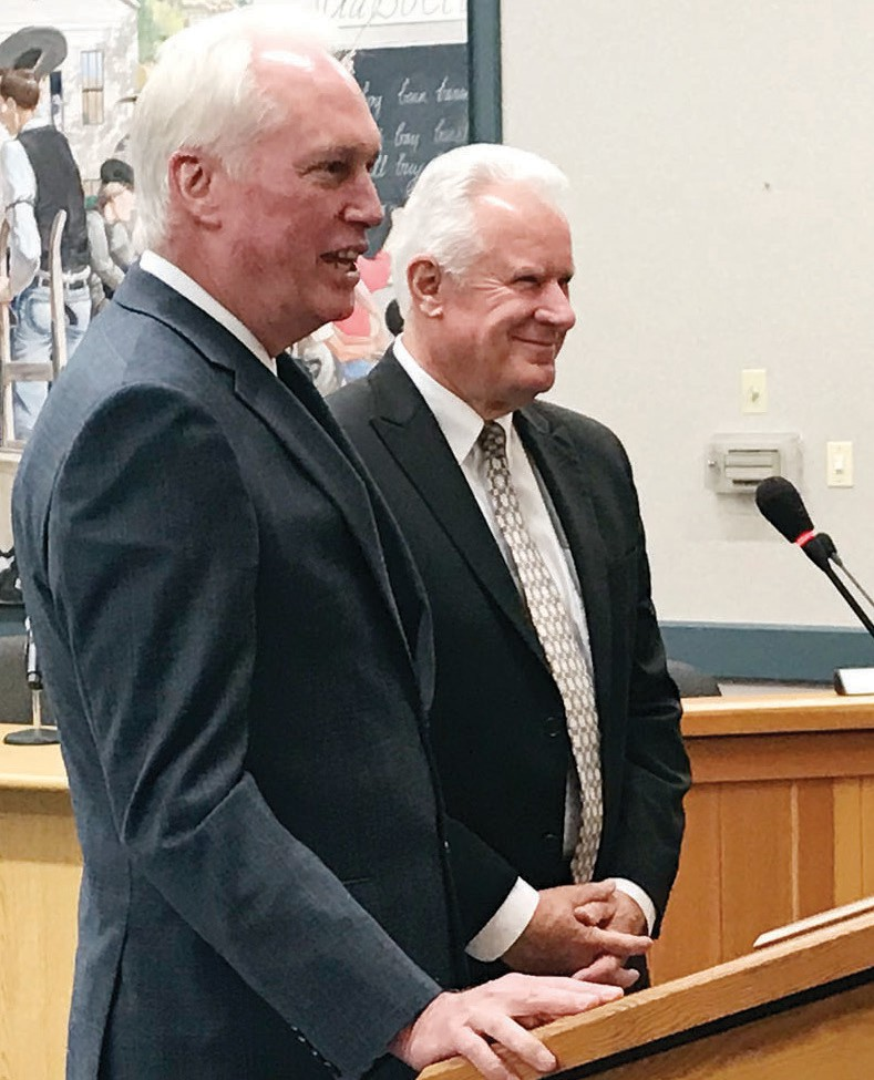 Mariposa County Counsel Steve Dahlem, left, introduces Kevin Briggs, the new assistant county counsel in Mariposa County. It's the first time in history the county has had two attorneys in the county counsel's office.