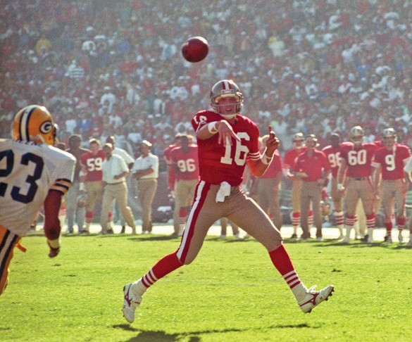 """San Francisco 49ers vs. Green Bay Packers at Candlestick Park Sunday, Nov. 19, 1989. The Packers edged the 49ers 21-17. 49er quarterback Joe Montana (16) is shown. """"I just like this image because it looks like Joe is throwing the ball to me,"""" Golub said."""