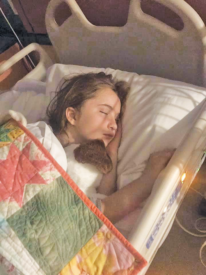 At left, Jade Seymour is shown sleeping in her hospital bed while family members had no idea if she would recover. At right, what many believe was a Thanksgiving miracle resulted in her being able to start the road to recovery — including with her dog. Submitted photos