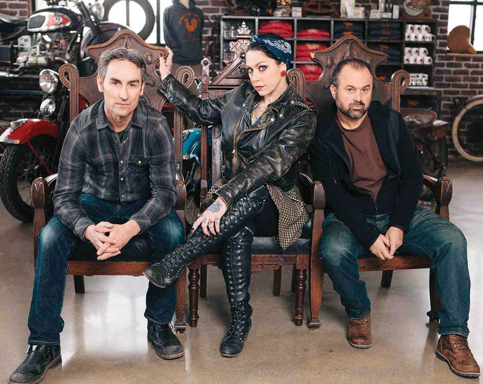 Shown, from left, are Mike Wolfe, Danielle Colby and Frank Fritz, the stars of American Pickers. Submitted photo