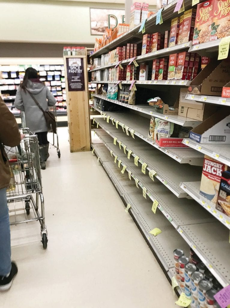 This scene from Pioneer Market in Mariposa is typical of what's happening around the nation. Grocery outlets have limited access to various products and that could continue well into the future. Photo by Price Little