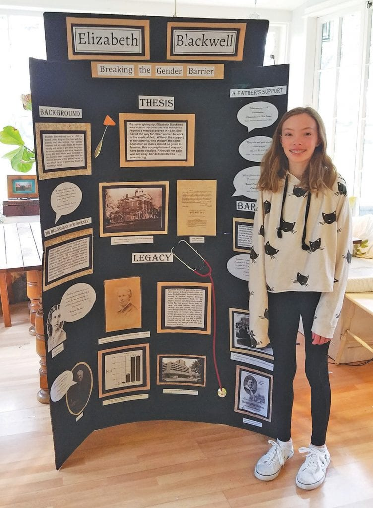 Student Juniper Helling is shown with her posterboard about Elizabeth Blackwell. Now that the National History Day contest is being changed to a virtual format, much of the competition will be different, including no posterboards. Submitted photos