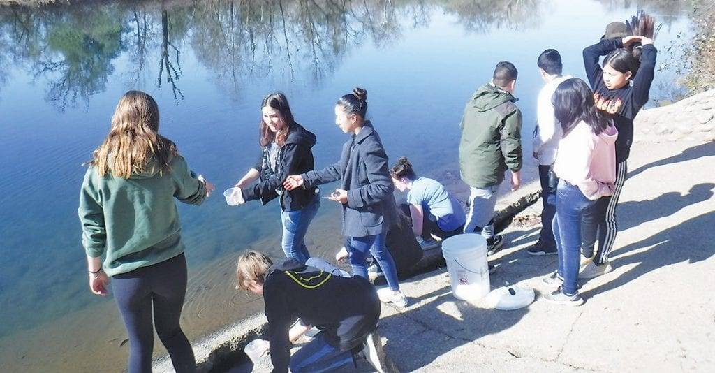 Students from El Portal are shown taking part in the annual salmon release field trip. Submitted photo