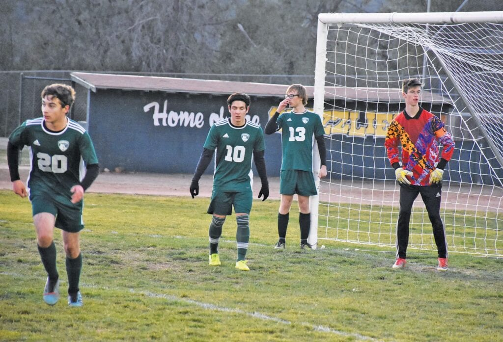 Mariposa's Zach Fincher (far right) was the quarterback of the MCHS defense for the past few soccer seasons. Photos by Matt Johnson