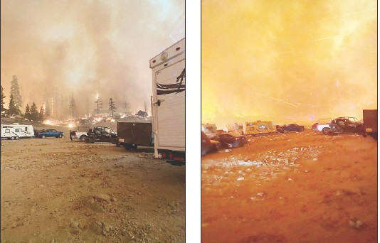 This was scene in the Sierra National Forest when several campers became surrounded by flames in the Creek Fire last weekend. These photos by Cameron Colombero were taken at Mammoth Pool, where many people were rescued by helicopter. Submitted photos